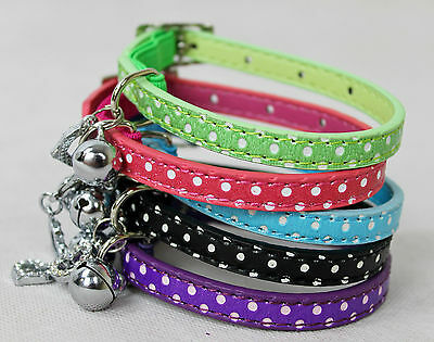 Polka Dot Pet Cat kitten Collar PU Leather Bling Rhinestone Buckle satey collar