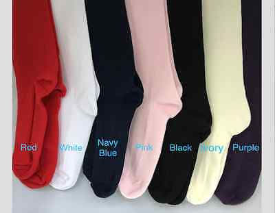 Tights Girls Kids Children's 2x pairs 90% Cotton Age 11-12 Years Various Colours