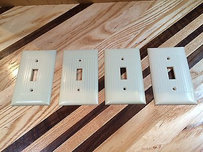 Four Vintage Sierra Bakelite Ivory Ribbed Single Light Switch Plate Covers Usa