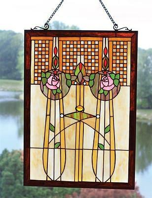 "Tiffany Stained Glass Window Panel Enchanted Rose 27""x 20"" Art Deco"