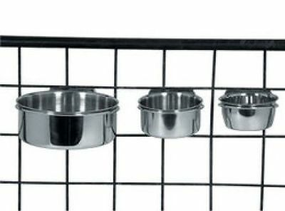 2x Stainless Steel Dog Bowls For Cages and Crates with Hooks, bird, small pet