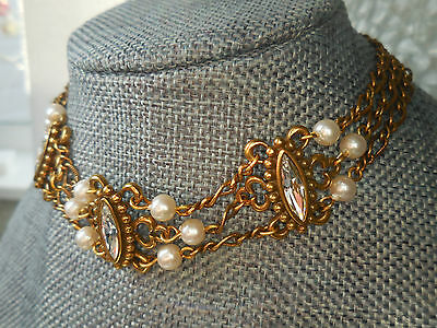 Statement Gold Tone Rhinestone Faux Pearl Choker Necklace