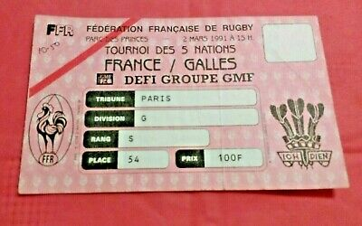 France v Wales 1991 Used Rugby Ticket