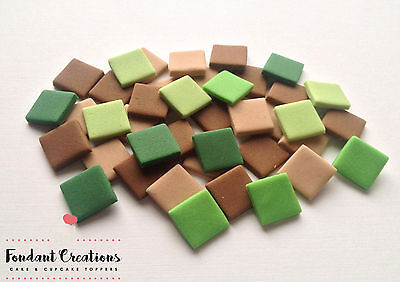 100 LARGE Brown & Green Squares Mine Craft Style Pixels Cake Topper Sugar 1.3cm