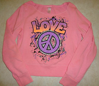 Girls Size 10 Bright Neon Pink Justice Pullover Sweatshirt Silver Glitter Peace