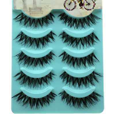 Natural 5 Pairs Long Thick Handmade Makeup Fake False Eyelashes Eye Lashes
