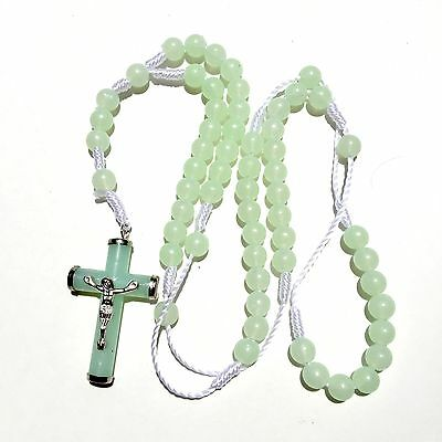 Rosary - Glow in the Dark green  Prayer Beads - Rosary Crucifix Necklace