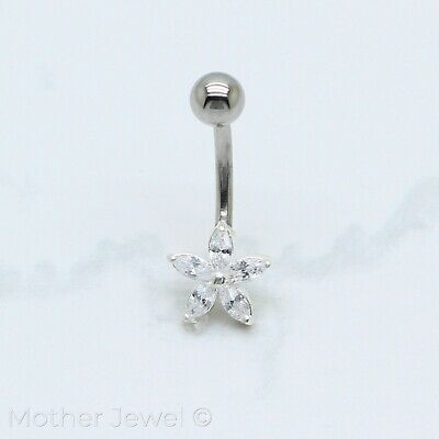 Simulated Diamond Flower Sterling Silver Surgical Steel Belly Button Navel Ring