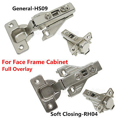 Hidden Face Frame Kitchen Cabinet Door Hinges Clip-On Soft Closing Full Overlay