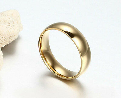 Smooth Engagement Ring Yellow gold filled Mens Womens Wedding Band Couple Rings