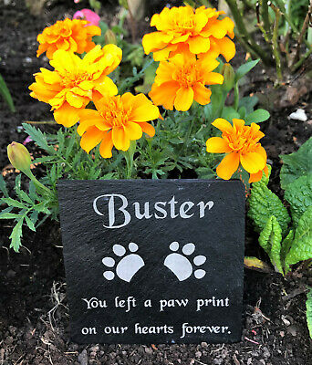 Personalised Engraved Pet Memorial Black Slate Grave Marker Plaque Dog