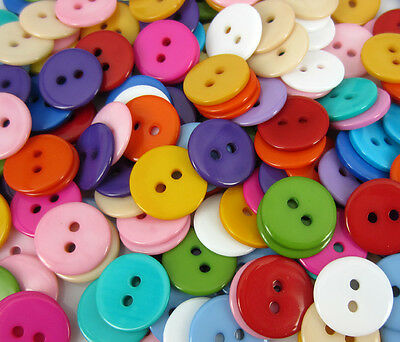 Free DIY 100pcs Mixed Color Round shape 2 hole Resin Sewing Buttons Crafts 15mm