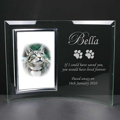 Personalised Engraved Glass Photo Frame Cat Dog Memorial Remembrance Gift
