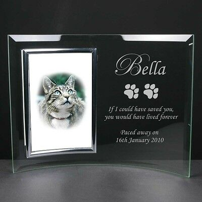 Personalised Engraved Glass Photo Frame Pet Cat Dog Memorial Remembrance Gift