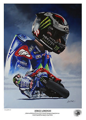 JORGE LORENZO A3 limited edition print signed by artist Greg Tillett MOTOGP