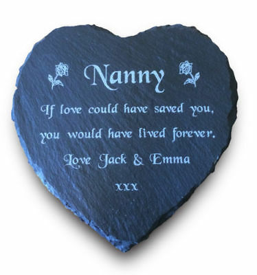 Personalised Engraved Slate Stone Heart Memorial Grave Marker Plaque