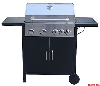 Barbecue A Gas Imperial K-C3-4B+Sb Fornello Laterale Coperchio Termometro