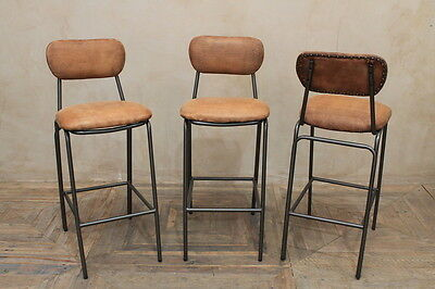 Vintage Style Tan Leather Tall Industrial Look Bar Stool With Studwork