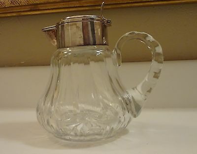 Antique 835 Sterling Silver Mounted Germany Crystal Wine Decanter Claret Jug