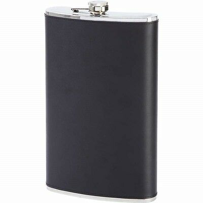Large 64oz Black Leather FLASK Stainless Steel Party Screw Cap Liquor 1/2 Gallon