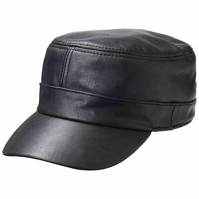 CADET CAP BLACK Genuine Leather Adjustable Biker Motorcycle Ball Flat  Castro Hat