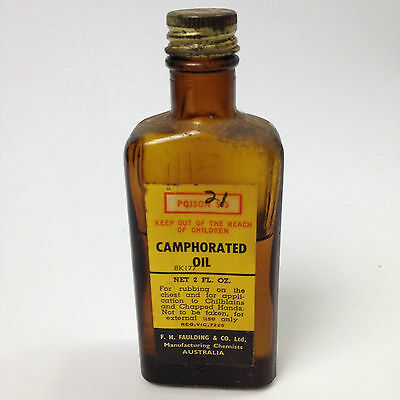 Vintage PHARMACY APOTHECARY CAMPHORATED OIL 2FL OZ Bottle With Content FAULDING