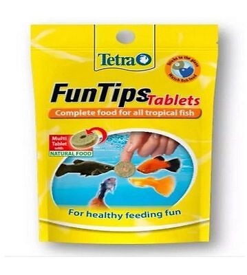 Tetra FunTips Tablets Complete Tropical Fish Food Sticks to Aquarium Glass 8g • EUR 3,29