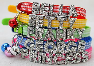 Gingham Tartan Personalised Cat / Kitten Safety Collar,summer Colours,bling