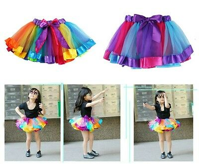 Rainbow Baby Toddler Girls Tutu Skirt Party Dance Birthday Tulle Satin 1-5 Years