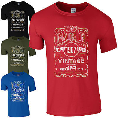Made in 1967 T-Shirt Born 50th Year Birthday Age Present Vintage Funny Mens Gift