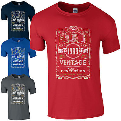 Made in 1989 T-Shirt Born 30th Year Birthday Age Present Vintage Funny Mens Gift