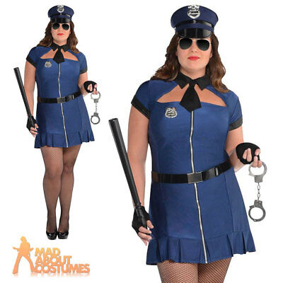 Ladies Bad Cop Fancy Dress Costume Police Woman Womens Outfit Plus