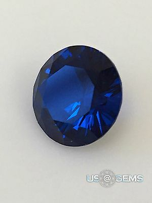 Swiss Spinel. Burma Dark Blue. Round 8 mm. 2 ct. Created gemstone. US@GEMS