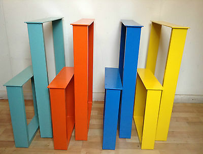 Industrial Steel Powder Coated Box Legs X2 for Table / Desk /Bench Design, Retro