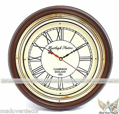 Antique Style Vintage Brass 12 Handcrafted Wood Designer Huntleigh Wall Clock