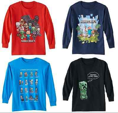 Official Minecraft Tshirt Tee LONG Sleeves for Boys Youth Sz 8, 10-12, 14-16 NEW