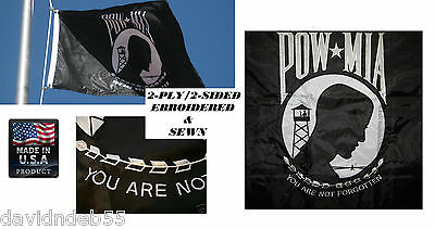 *USA MADE HEAVY DUTY 3x5 POW MIA PREMIUM EMBROIDERED&SEWN 600D 2PLY/SIDED FLAG