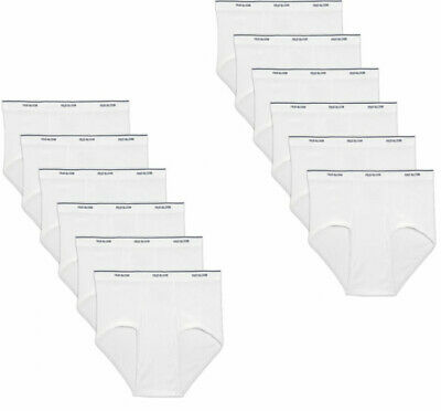 12 Pk Mens White Briefs 100% Cotton  Fruit Of The Loom