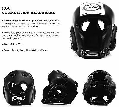 Fairtex Competition Head Guard HG6 Black Muay Thai MMA Martial Arts Boxing