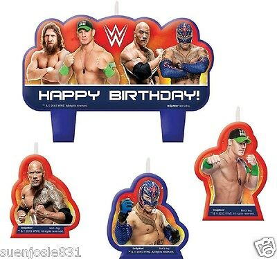 WWE Wrestling Champions Birthday Candles 4pcs Cake Cupcake Toppers Decorations