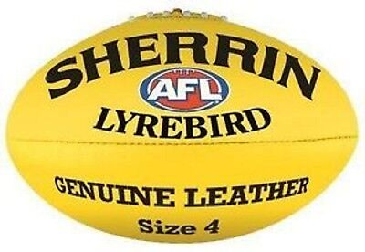 Afl Sherrin Lyrebird Yellow Leather Size 4  Football - Brand New