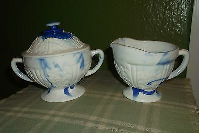 Cobalt Blue Slag Creamer And Lidded Sugar Bowl Very Nice Set