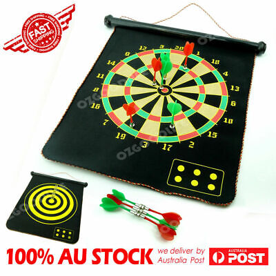 """17"""" Magnetic Rollup Dart Board w/ 6 Darts Large Double Side Dartboard Game Xmas"""