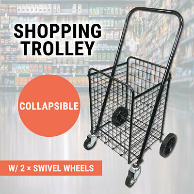 Collapsible Shopping Trolley Large Steel Basket Folding Shopping Trolley Cart