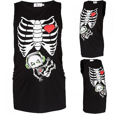 Happy Mama. Maternity Halloween Tee Skeleton Baby Headphones Print. 506p