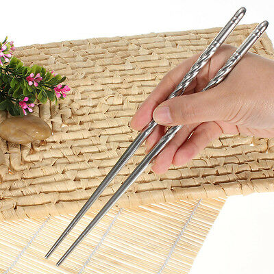 2 Pairs Chinese Style Non-slip Stainless Steel Chopsticks Chop Sticks Silver New