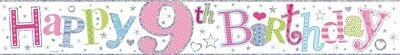 Age 9/ 9Th Birthday Girl Pink Foil Banners (Se)