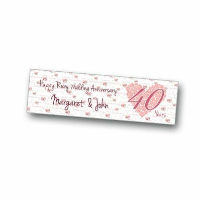 Personalised Ruby (40 Years) Wedding Anniversary Party Banner 36 x 12 inches