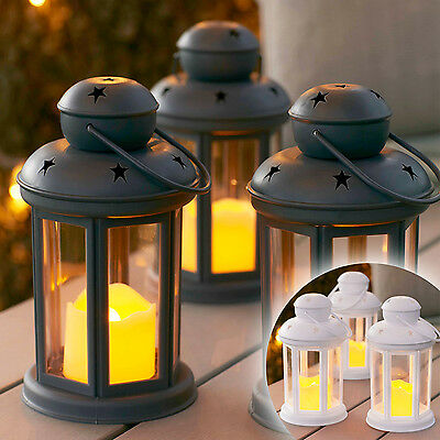 Set Of 3 Grey Or White Battery Operated LED Indoor Outdoor LED Candle Lanterns