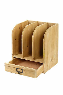 3 Compartment Wooden Files Drawer Metal Handle Office Home Desk Organiser D03